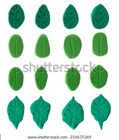 Set of green leaf made from plasticine on white background - stock photo