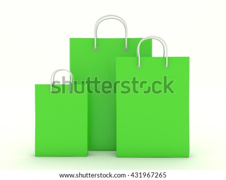 Set of green paper bags with handles. Group packaging bag of different sizes with blank for branding design. Packing for shopping, gifts and items. Isolated on white background. 3d illustration - stock photo