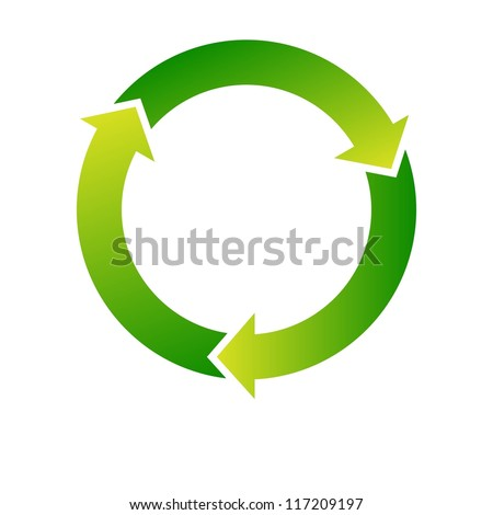 Set of green recycle icon on white background