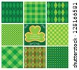 Set of green seamless patterns for St. Patrick's Day. Raster version - stock vector