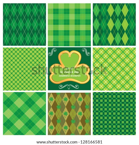 Set of green seamless patterns for St. Patrick's Day. Raster version - stock photo