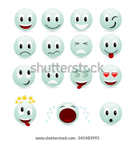 Set of green smiles isolated on a white.