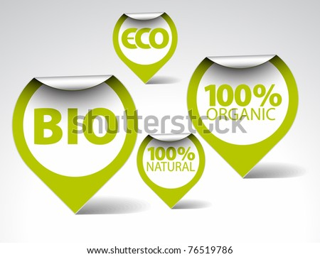 Set of green tags for organic, natural, eco, bio food