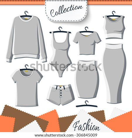 Set of grey clothes to create design on white background. Sweatshirt and T-shirt. T-shirt and shorts. Swimsuit. Suit with skirt. Template clothing - stock photo