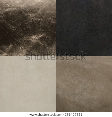 Set of grey leather samples, texture background. - stock photo