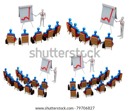 Set of group of persons and businessmans on white background - stock photo