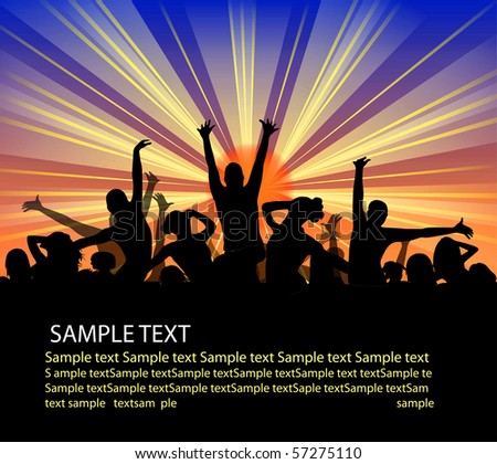 set of group peoples dance. flyer - stock photo