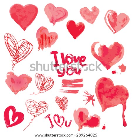 Set of grunge aquarelle hearts and words  I LOVE YOU - Elements for Valentines Day design. Raster version - stock photo