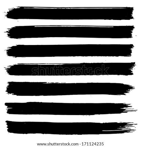 Set of grunge brush strokes. Black brush strokes collection. Black paint spots set  - stock photo