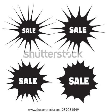 Set of Grunge Cloud Explosions, blast or bomb bang, raster illustration - stock photo