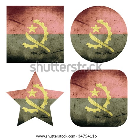 set of 4 grunge flag buttons of angola