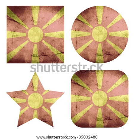 set of grunge flag buttons of macedonia