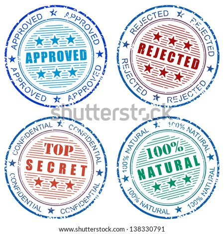 Set of grunge vector stamp prints: Approved, Rejected, Natural and Top secret - stock photo