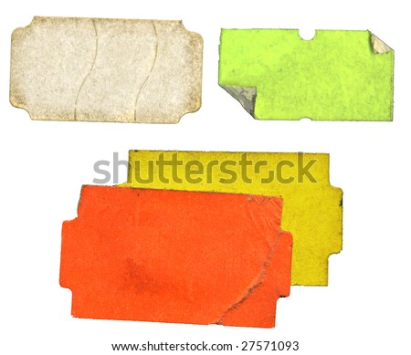 Set of grungy adhesive  labels, price stickers, tags, free copy space - stock photo