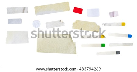 set of grungy adhesive stickers, price tags, isolated, free copy space