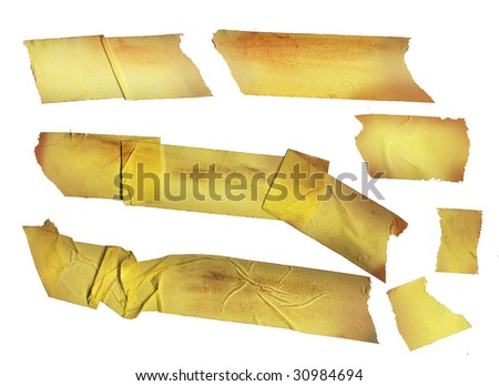 set of grungy adhesive tape stickers, dirty and worn, isolated on white background - stock photo