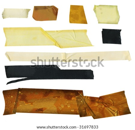 set of grungy adhesive tapes,  dirty and worn, isolated on white background, free copy space