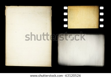 Set of grungy different film frames, isolated on black. - stock photo