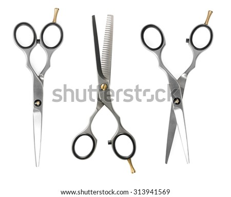 Set of hairdressing scissors isolated on white background - stock photo