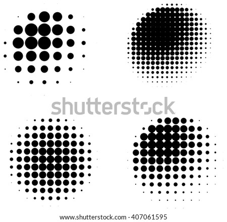 Set of halftone abstract shaded three dimensional spheres isolated on white background - stock photo