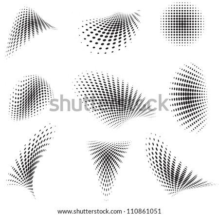 Set of halftone pattern - stock photo