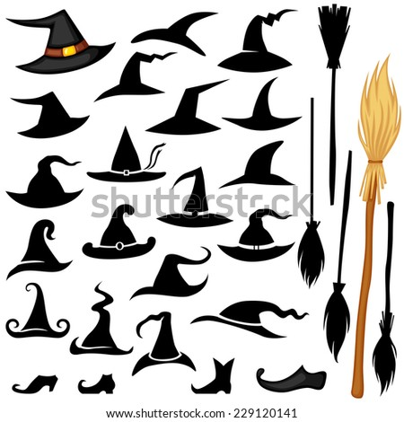 Set of Halloween accessories icon hat, broomstick, shoos - stock photo