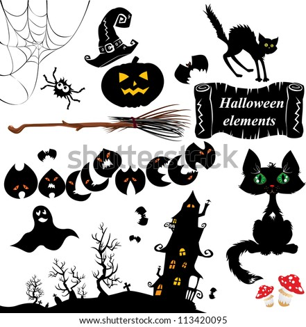 Set of  Halloween elements - pumpkin, bats, ghost, cat, mystery house and other terrifying things. Raster version - stock photo