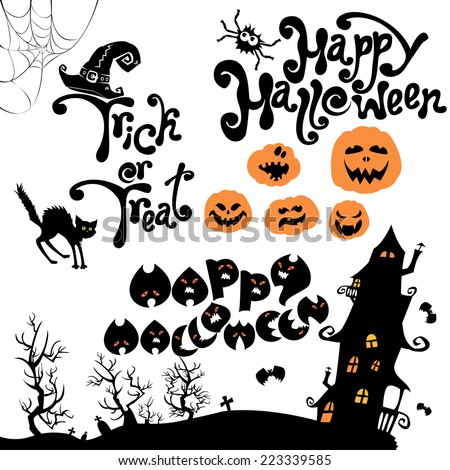 Set of Halloween elements - pumpkin, cat, mystery house and other terrifying things. Handwritten calligraphic text - Happy Halloween, Trick or Treat. Raster version - stock photo