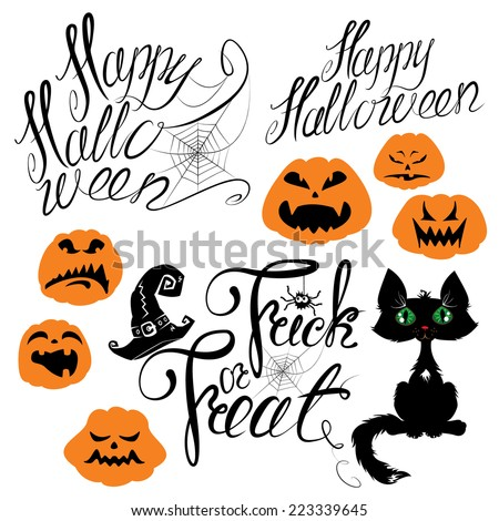 Set of Halloween elements - pumpkin, cat, spider and other terrifying things. Handwritten calligraphic text - Happy Halloween, Trick or Treat. Raster version - stock photo