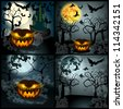 Set of Halloween illustrations with full Moon, Jack O' Lantern, scary castle, headstones, bats and crows - stock vector
