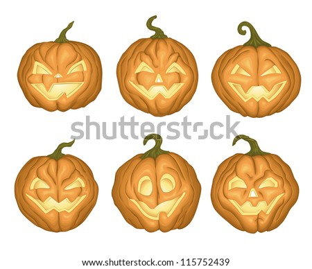 Set of 6  Halloween pumpkins on white background