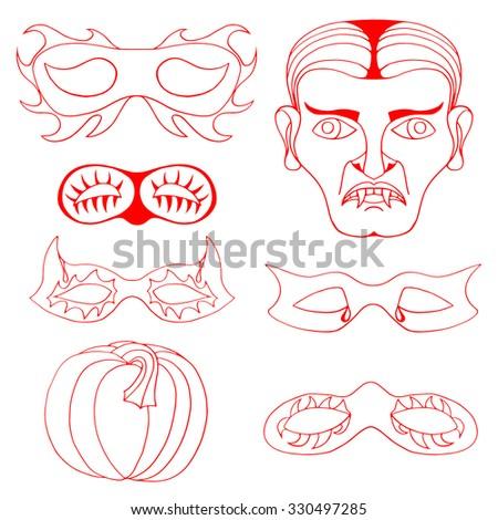 Set of Halloween red mask. illustration. Isolated on white - stock photo