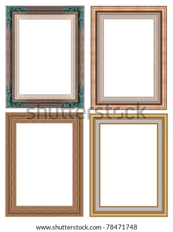 Set of hand craft picture frame, isolated on white - stock photo