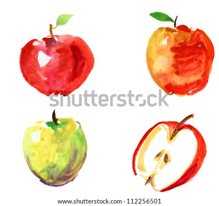 set of hand drawn apples watercolor - stock photo