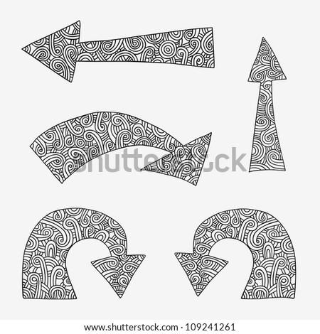 Set of hand drawn arrows. - stock photo