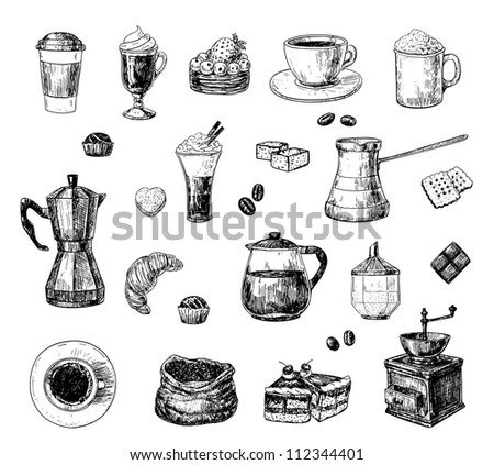 Set of hand drawn coffee related objects - stock photo