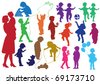 Set of hand drawn colored silhouettes of  children (kids) and mother and the baby, children play, dance, walk, give flowers, reflect, isolated on white - stock vector
