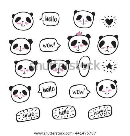 Set of hand drawn cute pandas with speech bubble. Doodles, sketch for your design. - stock photo