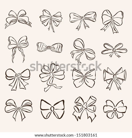set of 16 hand drawn decorative bows for your design - stock photo