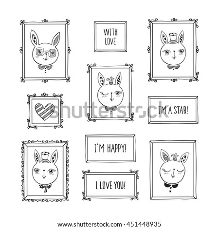 Set of hand drawn decorative square vintage photo frames with cute rabbits and words. Doodles, sketch for your design. - stock photo