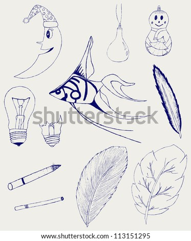 Set of Hand-Drawn Design Elements, Shapes, lightbulb, crescent, cigarette, fish, foliage, christmas toy. Raster version - stock photo