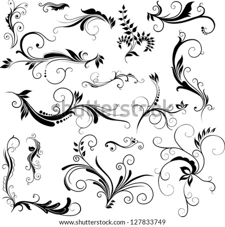 Set of hand drawn floral patterns - stock photo