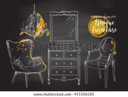 Set Hand Drawn Furniture Interior Detail Stock Vector 410543938 ...