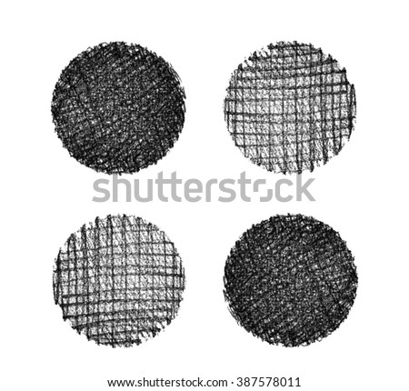 Set of hand drawn grunge textures. Shaded circles in different style. Abstract backgrounds. Design elements.