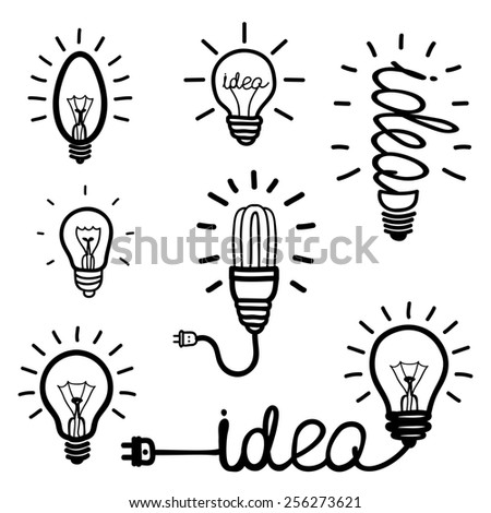 Set of hand drawn light bulb icons. Idea, solution, success. Fluorescent Lamp, electricity and energy.