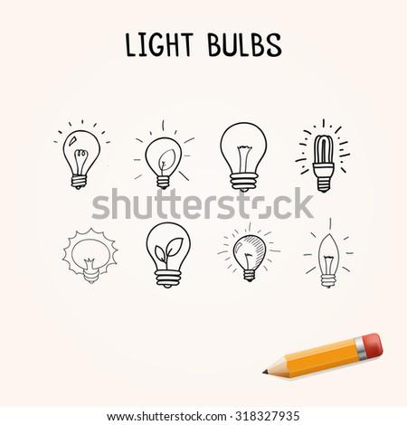 Set of Hand-drawn light bulbs, doodle icons with yellow pencil - stock photo