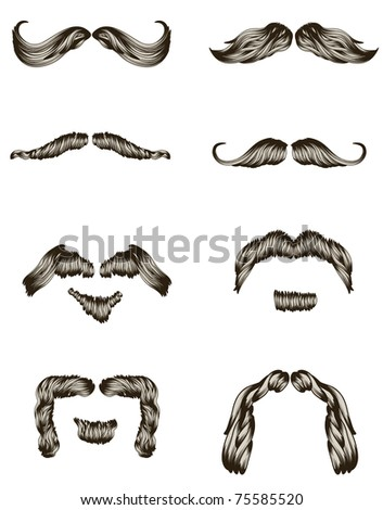 Set of hand drawn mustaches - stock photo