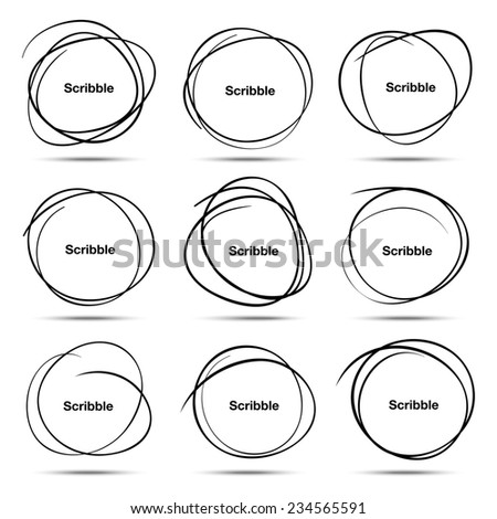 Set of 9 Hand Drawn Scribble Circles, raster  design elements - stock photo