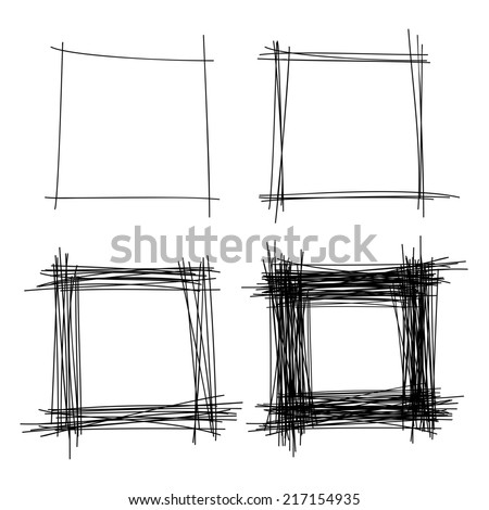 Set of Hand Drawn Scribble Squares, raster design elements  - stock photo