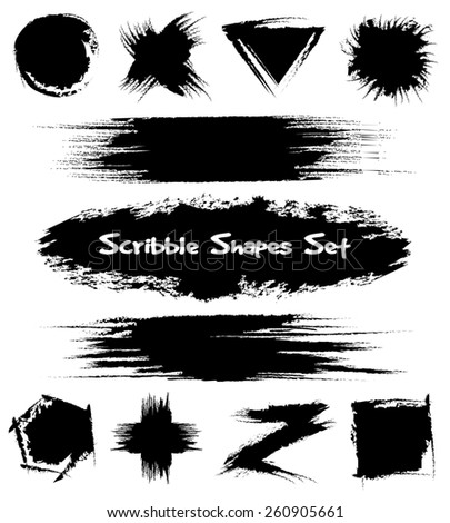 Set of hand-drawn sketch shapes. Scribble and design, black and brush - stock photo
